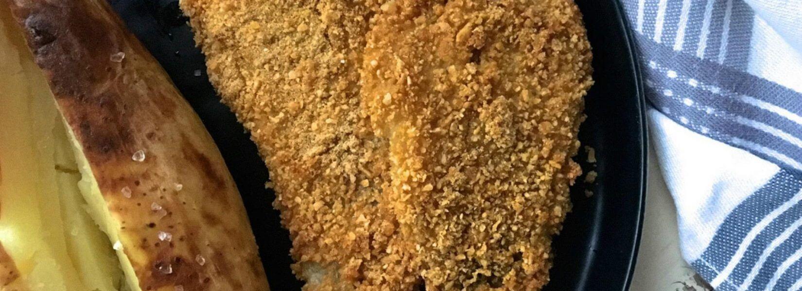 Πεντανόστιμος ψητός μπακαλιάρος παναρισμένος με corn flakes